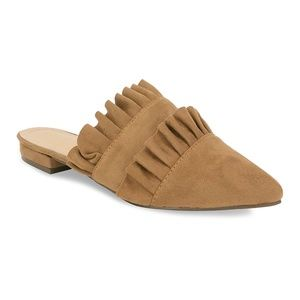 🛍 ARRIVED! Taupe Suede Slip-On Mule Double Ruffle